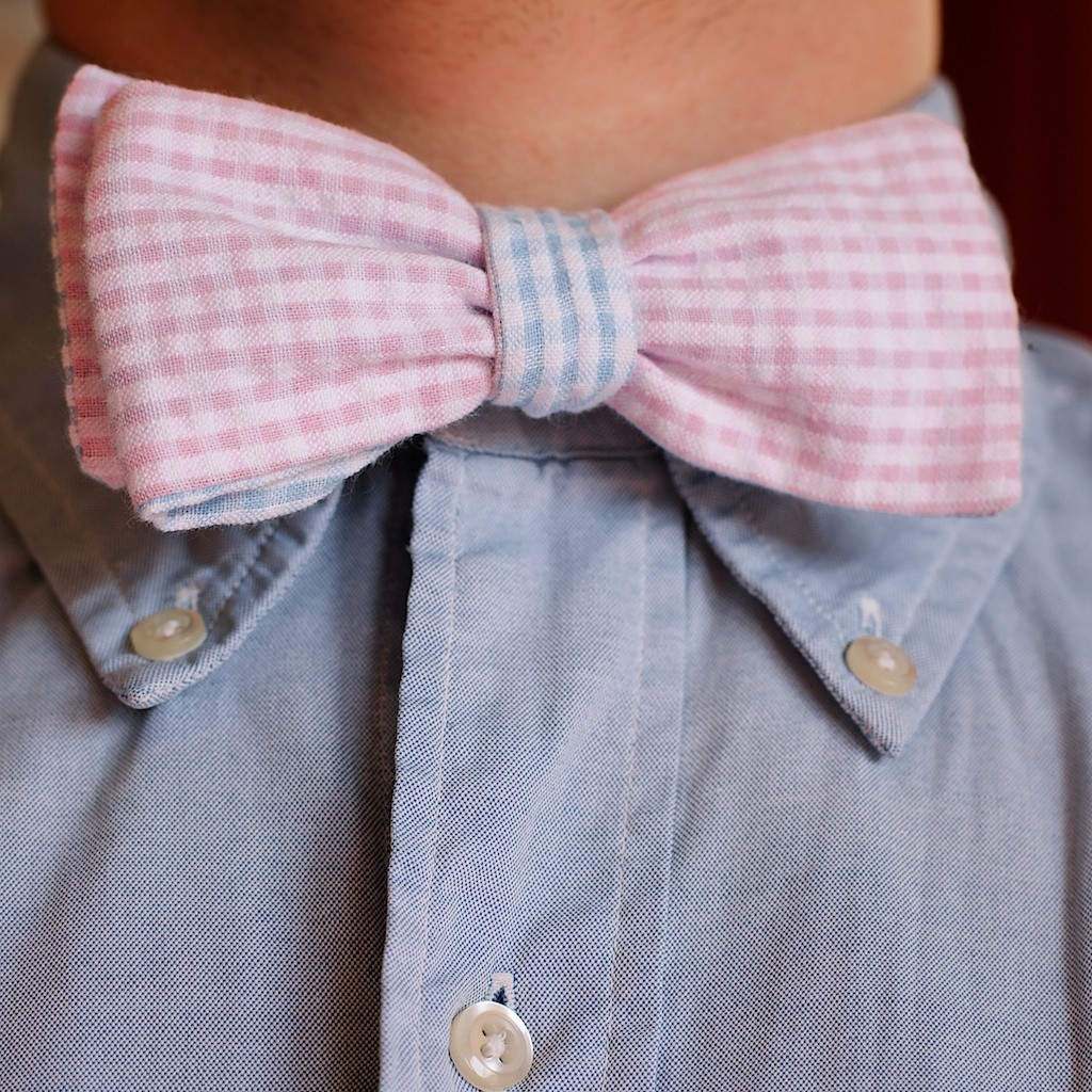 The Charles with a light blue Oxford.